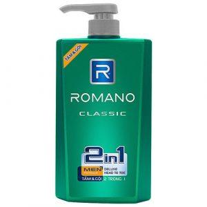 Top 10 loại dầu gội dành cho nam 3 - Tắm gội toàn thân Romano Classic 2 Trong 1