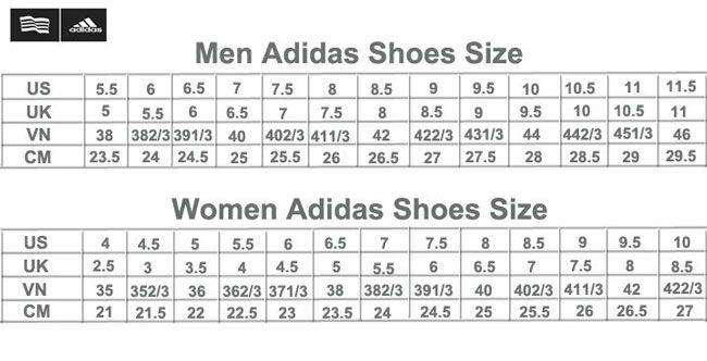 Top 10 giày chạy bộ nam - Adidas sizes