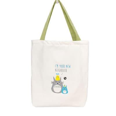 Túi Tote trắng Totoro quai xanh