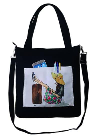Túi tote canvas Troy phối họa tiết cô gái đội mũ