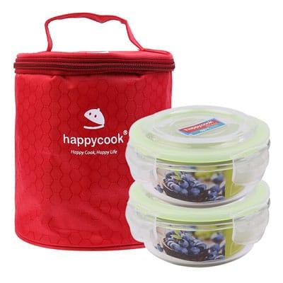 Bộ 2 hộp thủy tinh tròn kèm túi giữ nhiệt Happy Cook